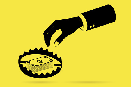 hand with banknote and trap, business trap concept Illustration