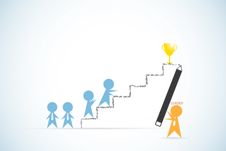 leader holding pencil to write ladder line for team to success, leadership and business concept