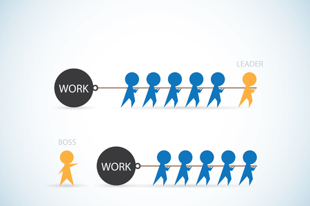 leader vs boss, leadership and business concept