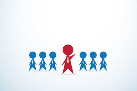 ceo office: red businessman lead team, leadership and business concept