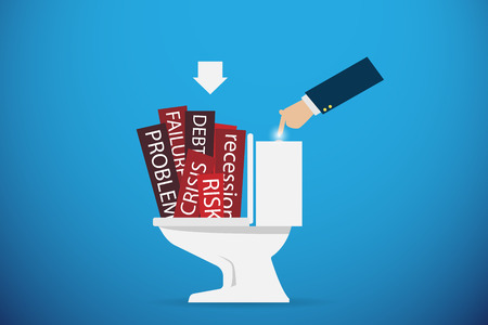 failed plan: business hand flushing the problem word going down the toilet, solution concept Illustration