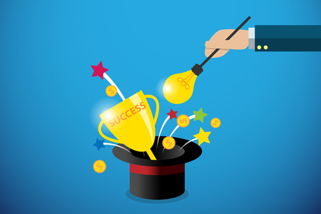 business hand holding lightbulb magic wand to get success trophy and coins, idea and business concept Illustration