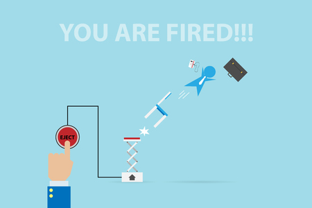 business hand press eject button to fire businessman, human resource and business concept Illustration