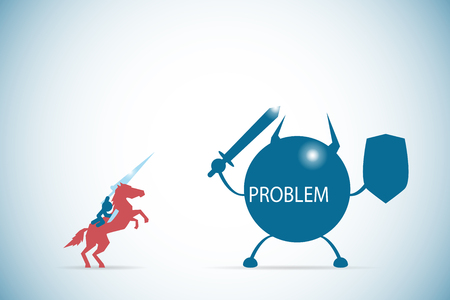 businessman riding a horse to against the problem character, solution and business concept