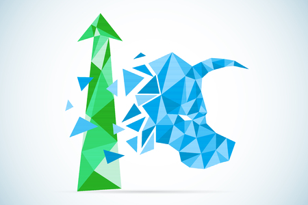 polygonal bull symbol with green arrow, stock market and business concept Illustration