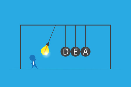 businessman with lightbulb and idea word on balancing balls newtons cradle, idea and business concept