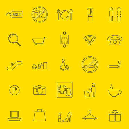 Shopping mall thin line icons