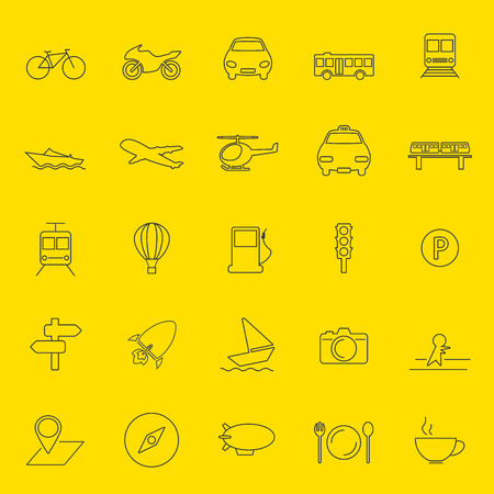 transportation and travel thin line icons