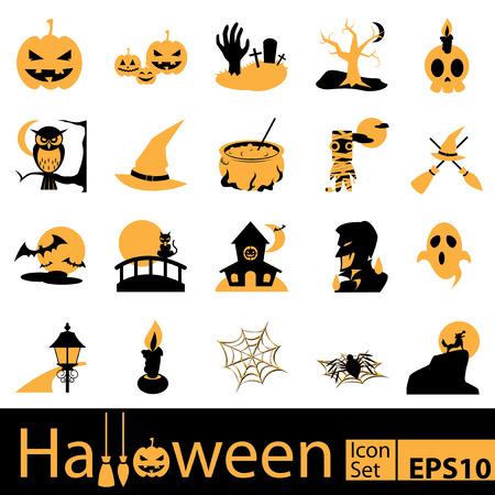 nighttime: Halloween Icon Set, vector