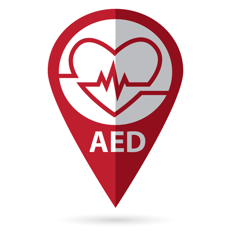 defibrillatorsymbool met locatiepictogram Stock Illustratie
