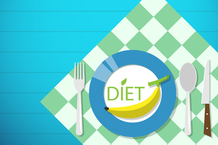 banana on dish with spoon, fork and knife, diet and health concept