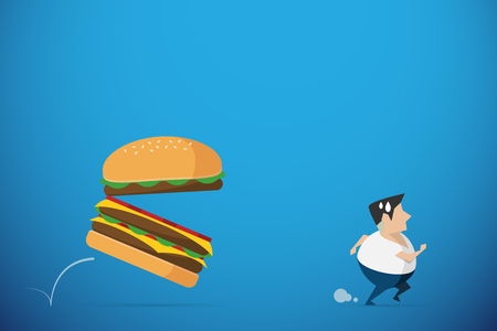 fat man running away from burger, diet and health concept