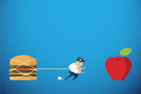 fat man trying walk to red apple but hamburger hold him back, diet and health concept