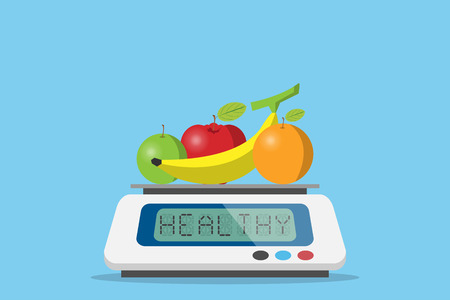 fruits on digital weight scale with healthy word, diet and health concept Illustration