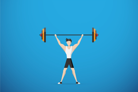 healthy man lifting weights over head, health concept