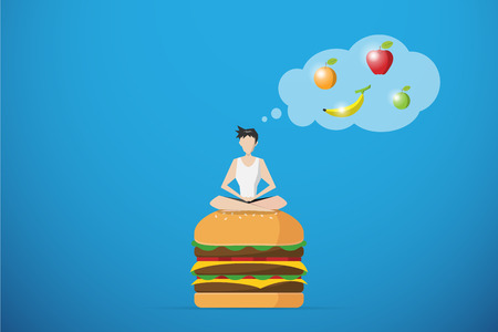 healthy man meditating on hamburger and thinking of fruit, diet and health concept