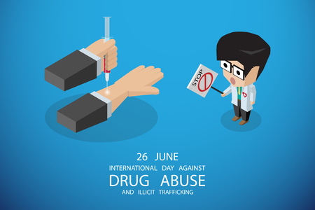 isometric international day against drug abuse and illicit trafficking, vector illustration Illustration