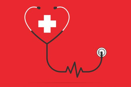 stethoscope in the shape of a heart and pulse with plus symbol, health concept