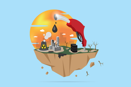 Cracked earth with factory and fuel nozzle, global warming and pollution concept