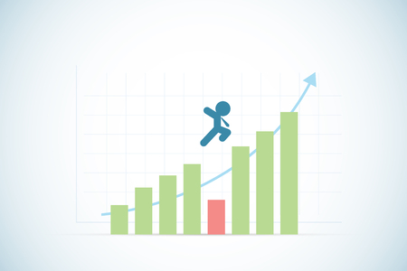 inspiring: businessman jumping over red and green sticks with blue arrow, success and business concept