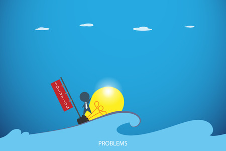 businessman on the lightbulb boat over the problem sea, idea and business concept