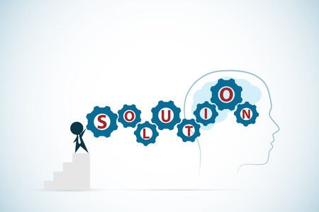 businessman turning gears with brain and head outline, solution and business concept Illustration