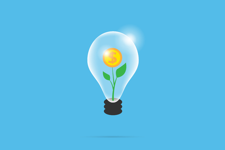 coin tree in lightbulb, idea and business concept
