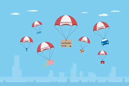 objects with insurance parachute, insurance and business concept