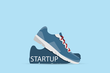 running shoes with startup word, startup and business concept Illustration