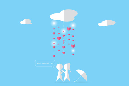 couple under clouds with rain and hearts, valentine concept