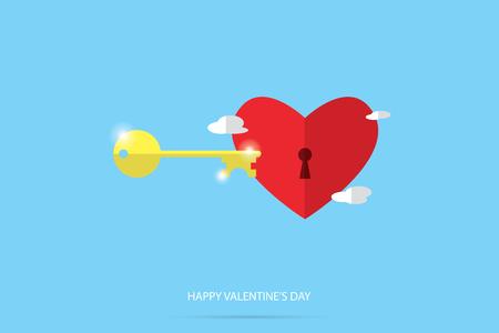 unlock red heart, valentine concept