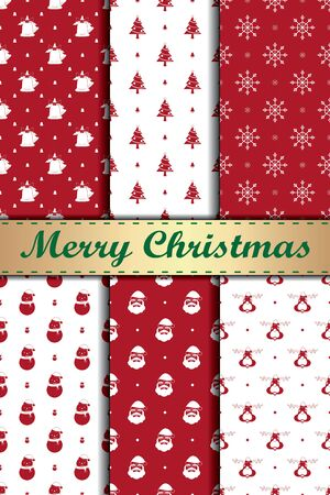 6 different christmas vector seamless patterns Ilustrace