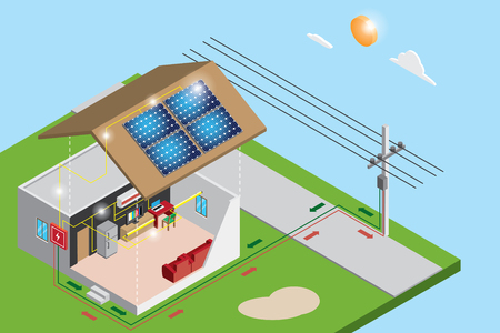 isometric electric power from solar panels use in house and sell to the goverment, renewable energy concept