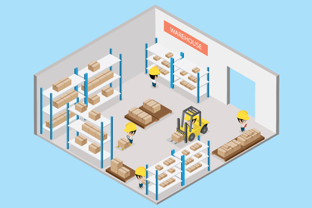 Interior warehouse with worker, isometric view