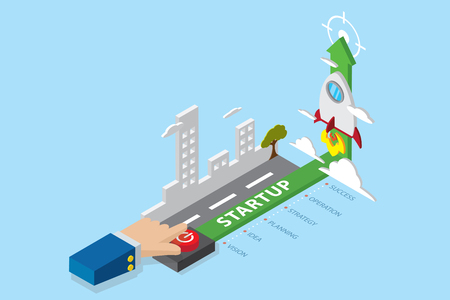 Isometric business hand press power button to launch the rocket with startup word tag, startup and business concept