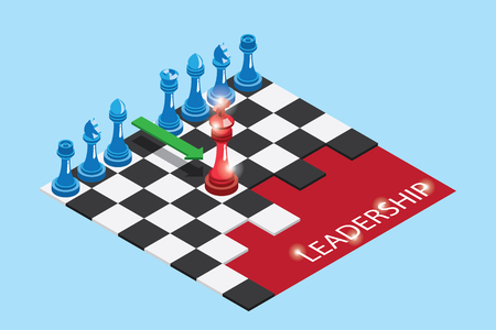 Isometric red and blue chess pieces on chessboard with word, leadership and business concept