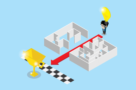 Businessman use lightbulb to separate maze and make path to golden trophy, idea and business concept