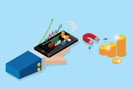 Isometric business hand holding mobile phone with candlestick chart and horseshoe magnet to attracting coins stack, stock and business concept