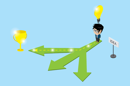 Isometric businessman follow the right way to trophy of success with idea, idea and business concept