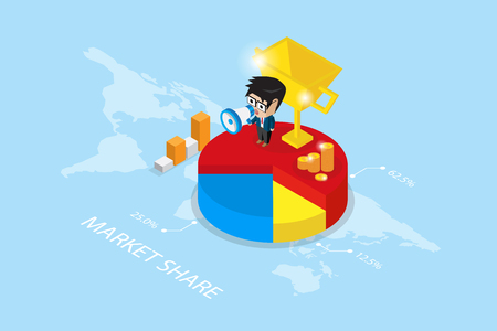 Isometric businessman holding a megaphone on pie chart with golden trophy, market share and business concept.