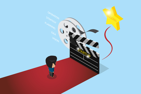 Isometric businessman stand on red carpet with big slate and golden star, startup and business concept.
