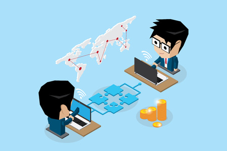Isometric businessmen connecting online by jigsaw puzzle and notebook, connection and business concept illustration. Ilustrace
