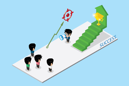 Isometric leader holding a megaphone with team and stair to golden trophy, teamwork and business concept