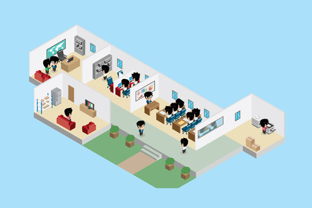 Isometric office interior with businessmen, business concept Ilustrace