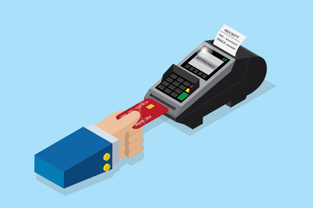 Isometric payment by credit card with pos terminal, EDC technology business concept Illustration