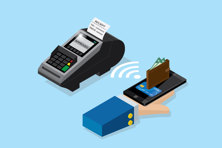 Isometric payment by smartphone with pos terminal, NFC technology and business concept Ilustrace