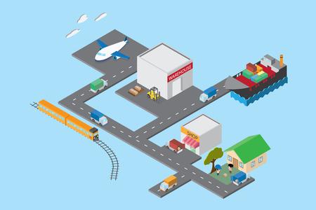 Logistique et transport, vue isométrique Banque d'images - 82360384