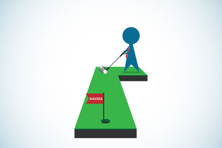 businessman putting golf ball into hole with success flag, business concept