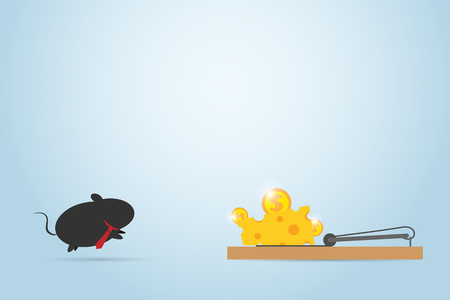 Business mouse jumping into mousetrap, business concept