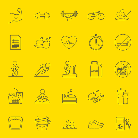 Healthy lifestyle thin line icons